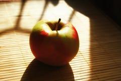 Rood groen Apple in de Gouden stralen van de zon royalty-vrije stock fotografie