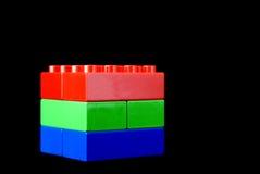 Rood, groen en blauw - Rgb kubus Stock Afbeelding