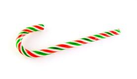 Rood, groen en wit gestreept suikergoedriet Stock Afbeeldingen