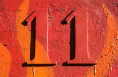 Rood grungy nummer 11 Stock Foto's
