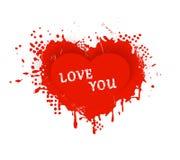 Rood grungy Valentijnskaartenhart met Liefde u die van letters voorzien Stock Foto