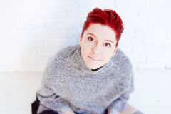 Rood haired meisje Stock Foto
