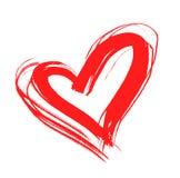 Rood met de hand getrokken hart, Royalty-vrije Stock Foto