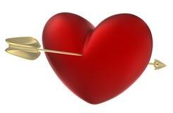 Rood hart dat door pijl wordt doordrongen. Stock Afbeelding