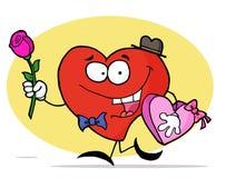 Rood Hart dat een Doos van Valentijnskaarten draagt Dag Chocol Royalty-vrije Stock Foto's