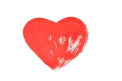 Rood hart dat op Witboek wordt geschilderd Stock Fotografie