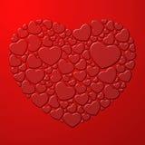 Rood hart dat uit kleine harten wordt samengesteld Stock Fotografie