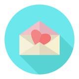 Rood hart in de envelop op een blauwe cirkel pictogram Vlakke ontwerp vectorillustratie Royalty-vrije Stock Afbeelding