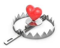 Rood hart in een beerval Stock Afbeeldingen