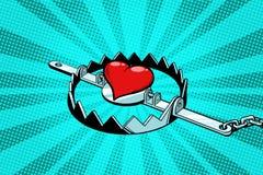Rood hart in een ijzerval Liefde en Romaans stock illustratie