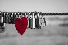 Rood hart in een overzees van liefdesloten royalty-vrije stock fotografie