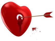 Rood hart en doel op wit Stock Foto
