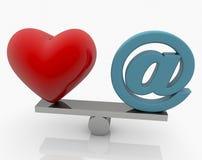 Rood Hart en E-mailteken op geschommel stock illustratie