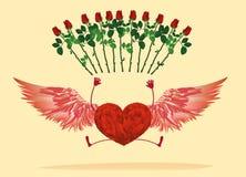 Rood hart met benen en mooie vleugels gestuiterd en hef op vector illustratie