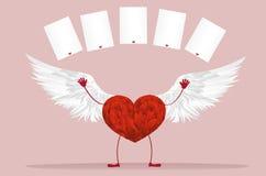 Rood hart met benen en vleugels Hef omhoog uw handen op en geworpen stock illustratie