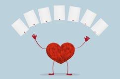 Rood hart met benen Hef omhoog uw handen en geworpen lege spaties op royalty-vrije illustratie