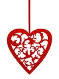 Rood hart met bloemenornament Stock Foto's