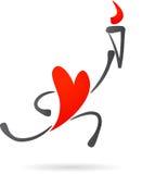 Rood hart met een toorts Stock Afbeelding