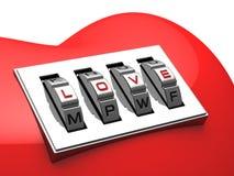 Rood hart met het glanzende hangslot van de metaalcode Stock Afbeeldingen