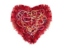 Rood hart met klatergoud en Mardi-grasparels, geïsoleerd symbool, Stock Afbeelding