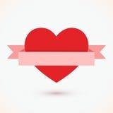 Rood hart met lintpictogram op witte vector als achtergrond royalty-vrije stock foto's