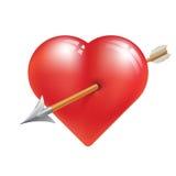 Rood hart met pijl Stock Afbeeldingen