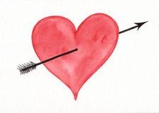 Rood hart met pijlwaterverf het schilderen Stock Fotografie