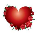 Rood hart met rozen. Royalty-vrije Stock Afbeelding