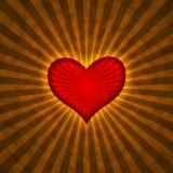 Rood hart met stralen op een grungeachtergrond Stock Afbeelding