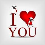 Rood hart met tekst stock illustratie