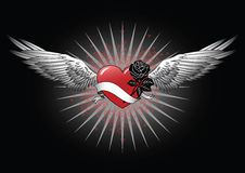 Rood hart met vleugels stock illustratie