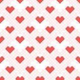 Rood hart naadloos patroon Dwars-steek stock illustratie