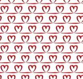 Rood hart naadloos patroon, vector Royalty-vrije Stock Afbeeldingen