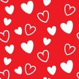 Rood hart naadloos patroon, voor valentijnskaartgebeurtenis stock illustratie