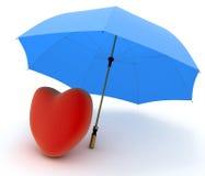Rood hart onder paraplu op wit Stock Afbeelding