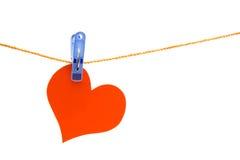 Rood hart op de kabel Stock Fotografie