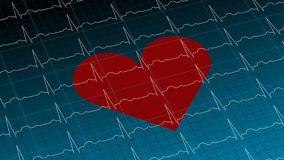 Rood hart op donkerblauwe cardiogram 3D illustratie als achtergrond royalty-vrije illustratie