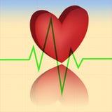 Rood hart op een achtergrond een cardiogram Stock Foto's