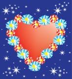 Rood hart op een blauwe achtergrond Stock Illustratie