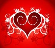 Rood hart op een bloemornament Royalty-vrije Stock Afbeelding