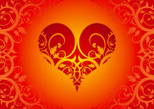 Rood hart op een bloemornament Stock Afbeelding