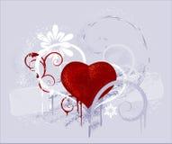 Rood hart op een grijze achtergrond Royalty-vrije Illustratie