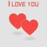 Rood hart op een grijze achtergrond en ik houd van u Stock Afbeeldingen