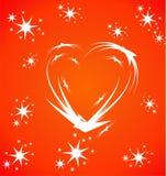 Rood hart op een rode achtergrond Stock Illustratie