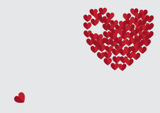 Rood hart op grijze achtergrond Stock Afbeelding