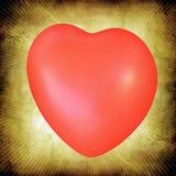 Rood hart op grunge oranje achtergrond royalty-vrije illustratie