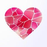 Rood hart op lichtpaars. stock afbeelding