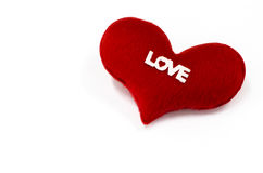 Rood hart op witte achtergrond, Gevormd Hart, conc valentijnskaartendag Stock Foto