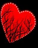 Rood hart op zwarte achtergrond Stock Foto
