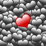 Rood hart op zwarte hartachtergrond Royalty-vrije Stock Afbeeldingen
